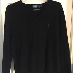 Polo Ralph Lauren navy v neck sweater XL
